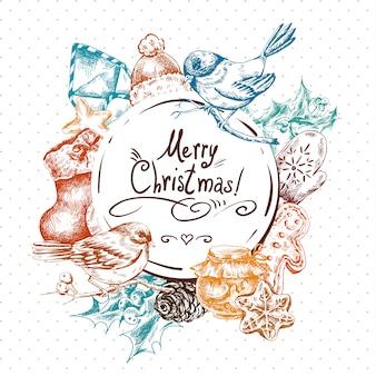 冬手描きクリスマスの要素を持つグリーティングカード