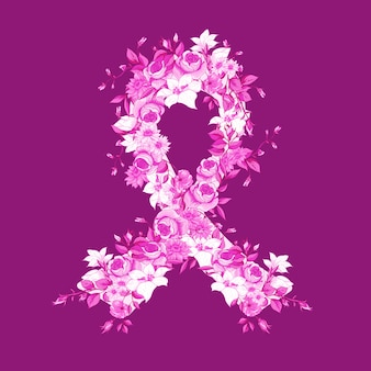 Красивая розовая лента цветов
