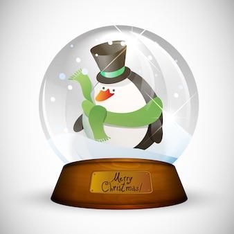 Рождественский снежный шар с пингвином
