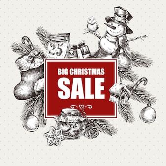 Большая новогодняя распродажа, винтажные векторные иллюстрации