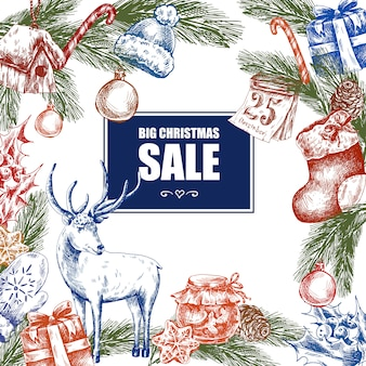 大きなクリスマスセール、ビンテージベクトル図