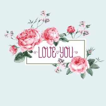 咲くイングリッシュローズとビンテージの水彩グリーティングカード