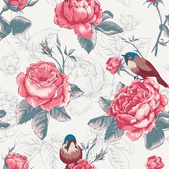 Ботанический цветочный бесшовный узор с розами и птицами