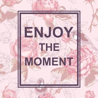 スローガンと花のファッションデザインカード