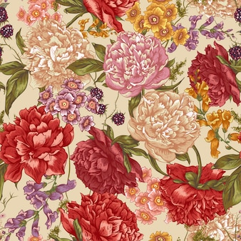 ビンテージスタイルの牡丹とシームレスな花柄