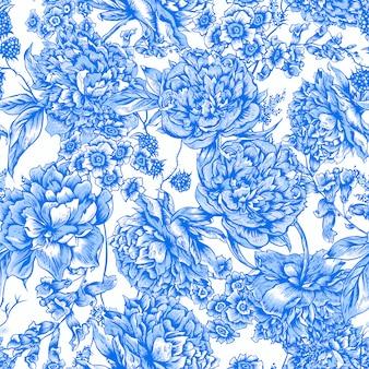 ビンテージスタイルの牡丹と青い花のシームレスパターン