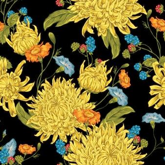 Бесшовный фон с хризантемами