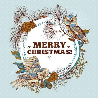Новогодняя круглая рамка с совами, еловыми и еловыми шишками