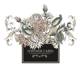 まんじ、花とビンテージバロックグリーティングカード