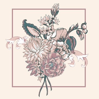 まんじとビンテージ花の花束