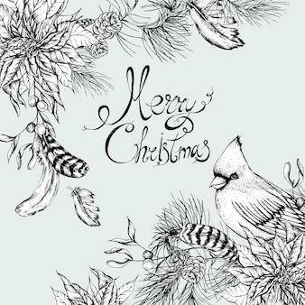 モノクロクリスマスビンテージ花柄グリーティングカード
