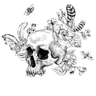 頭蓋骨、花の死者の日、黒と白のベクトルイラスト