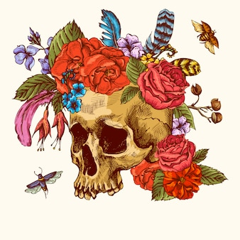 День мертвых черепа и цветов