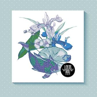 ビンテージ池の水っぽい花のグリーティングカード
