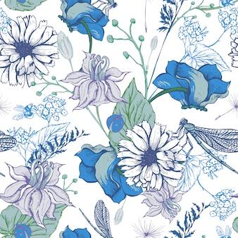 ビンテージガーデン花のシームレスパターン