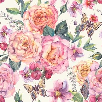 Бесшовный фон с розами и бабочкой