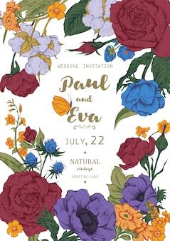 アネモネとバラの花輪を持つ結婚式の招待状