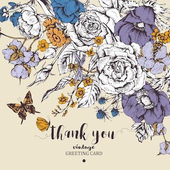 Винтажная цветочная открытка с розами, анемонами и бабочкой