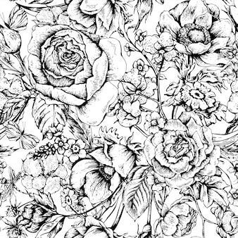 バラとビンテージ花ベクトルシームレスパターン