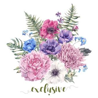 イソギンチャクとビンテージ花グリーティングカード