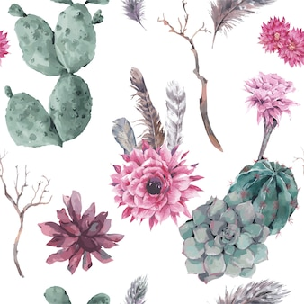 枝と多肉植物のシームレス花柄