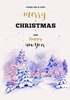 冬の風景とメリークリスマスと新年あけましておめでとうございますイラストグリーティングカード