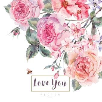 バラの花束と春ビンテージ花グリーティングカード