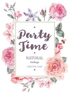 ピンクの咲く英語のバラと垂直フレームカード