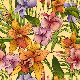 ビンテージ花熱帯シームレスパターン