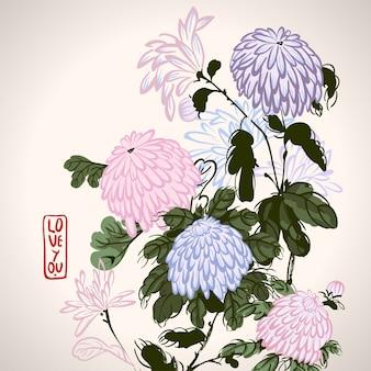 中国風に咲くピンクの菊