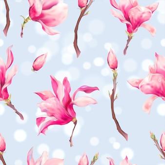 Векторные цветочные весенние бесшовные модели