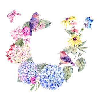 Пара птиц с цветущими полевыми цветами