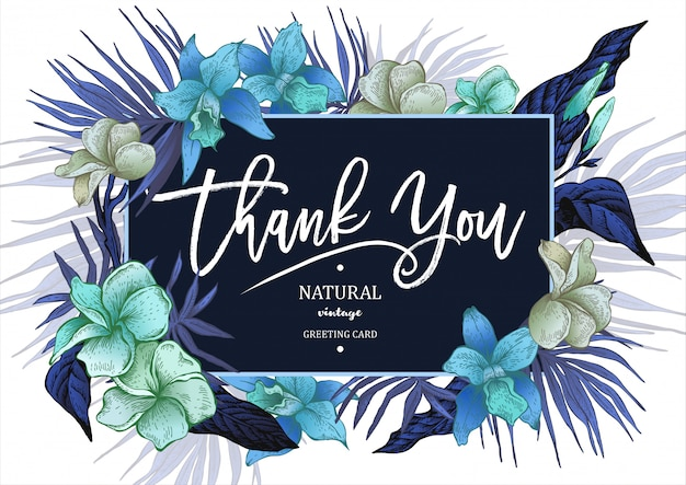 夏の熱帯ビンテージ花グリーティングカード