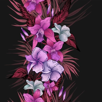 Векторные винтажные цветочные тропические бесшовные модели