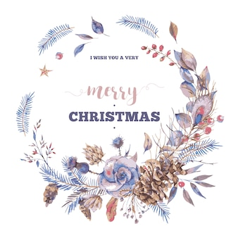バラと自然なビンテージリースとメリークリスマスのグリーティングカード