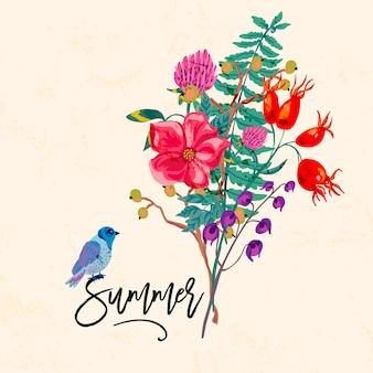 鳥と花。ビンテージ夏イラスト、