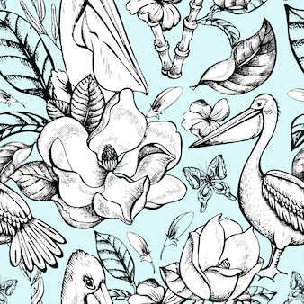 Вектор монохромный тропический цветочный бесшовный фон