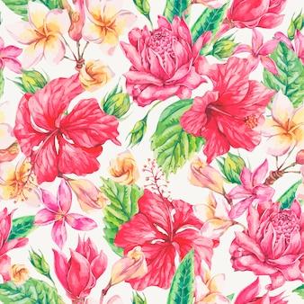 ビンテージの明るい熱帯の花のシームレスパターン