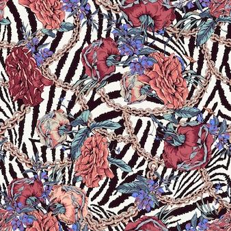 バラ、チェーン、野生の花のシームレスなパターンを持つヴィンテージ