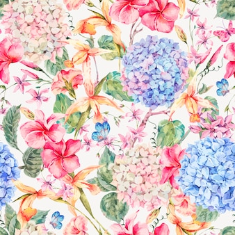 アジサイ、蘭の花を持つベクトルヴィンテージ花グリーティングカード