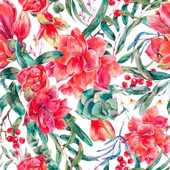 赤い花アマリリスのシームレスな花柄ベクトル