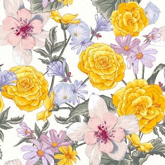 Бесшовный цветочный ботанический узор с полевыми цветами