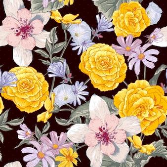 野生の花と植物のシームレスな花柄