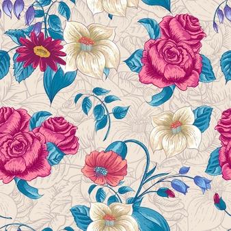 バラと野の花のシームレス花柄