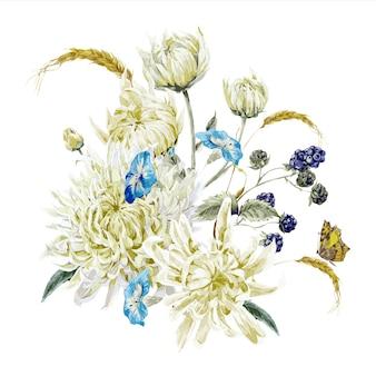 菊とヴィンテージの花のイラスト