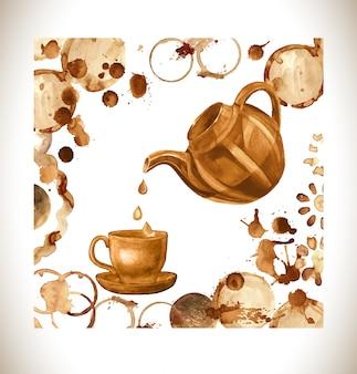 コーヒー塗料カップ、水しぶき、ハート
