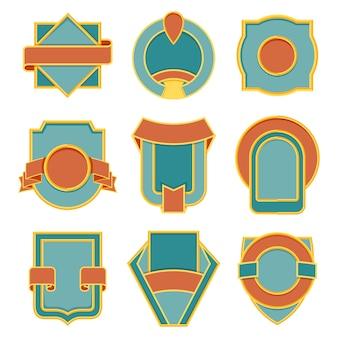 Набор ретро старинных значков. вектор значок плоский современный стиль иллюстрации. логотип, эмблема, дизайн этикетки