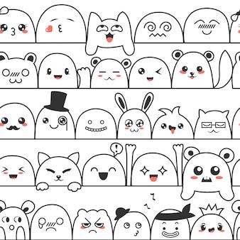 かわいい素敵なかわいいモンスターと動物のシームレスパターン。