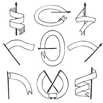 さまざまな旗の形のベクトルを設定します。ヴィンテージ空白エンブレムリボンバナーセット。