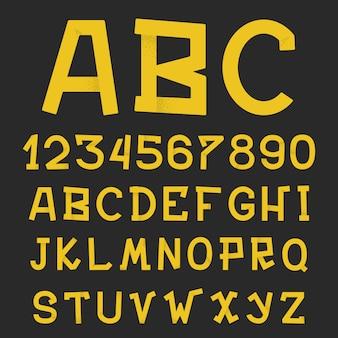 織り目加工のグランジのアルファベット。手書きのテクスチャと文字。